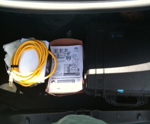 My trunk.  Extension cord, Check!  Flyers, Check! Projector. Check!